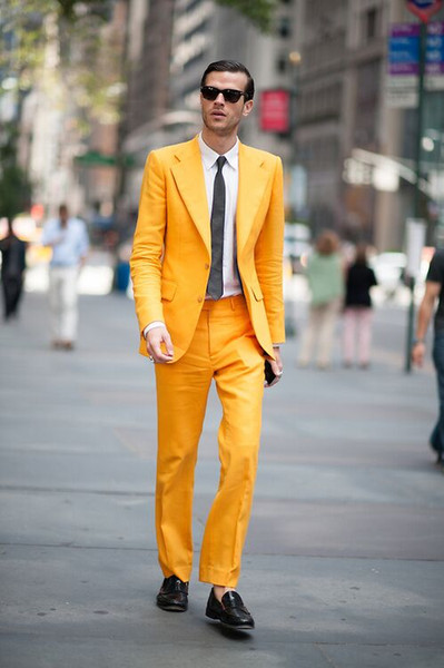 New Fashion Yellow Two Button Groom Tuxedos Excellent Groomsmen Blazer Men Formal Suit Party Prom Suit Customize(Jacket+Pants+Tie) NO:190