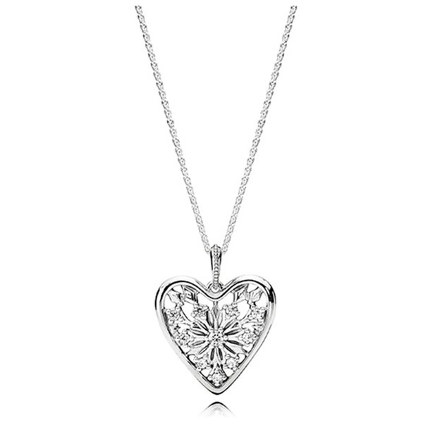 Authentic 100% 925 Sterling Silver Heart Pendant Necklace with Original box for Pandora Silver Chain Necklaces Women Men's Gift