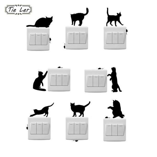 TIE LER 8 PCS Moda Cartoon Cat And Mouse Window Wall Decorating Switch Sticker Decalcomania del vinile Decor Room