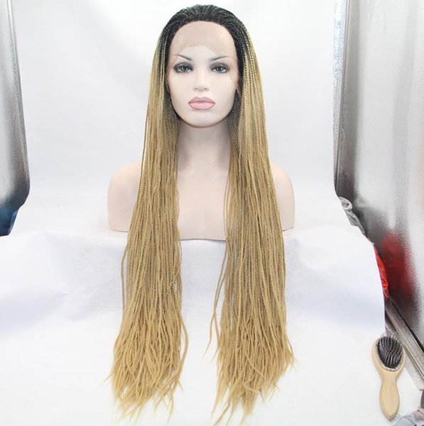Density 150% Heat Resistant Micro Braided Wigs African American Hair Braiding Styles Long Blonde Wig Lace Box Braids Synthetic Wig FZP81