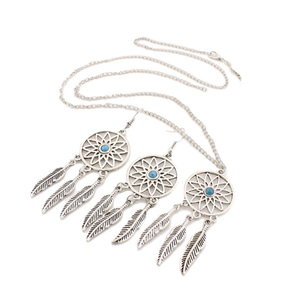 1Set Dream Catcher Charm Pendant Necklace Jewelry Set Antique Silver Dreamcatcher Dangle Earrings Jewelry Set For Women Party