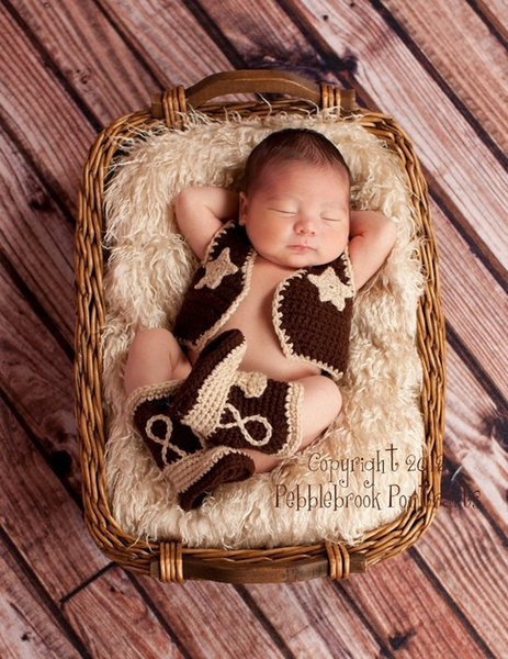 Baby Photography Props Baby clothing Cowboy Boots and Vest Set Crochet Pattern Infant Costume Outfit Knitted Newborn Hats Photo Prop