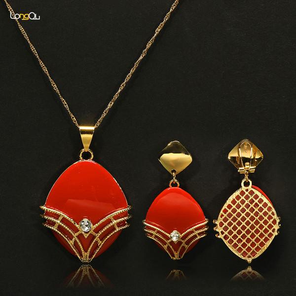 Longqu Collana Orecchini Oro Colorato Resina Set di gioielli per le donne Cristallo simulato Vintage nuziale Nuziale cristallo imitazione