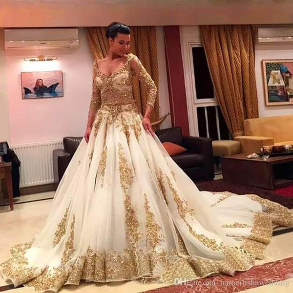 African Traditional Wedding Dresses Gold Applique Beaded Formal Long Sleeves Bridal Gowns Organza Sweep Train Arabic Vestidos