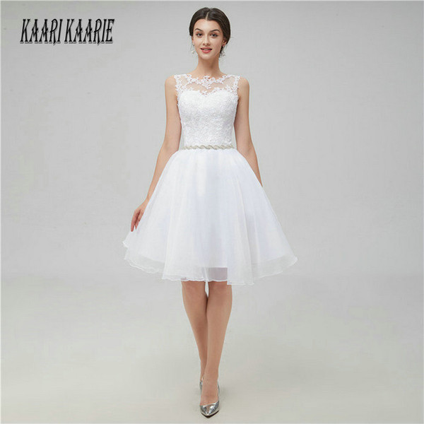 Sexy Ivory Short Prom Dresses 2018 Cheap White Prom Dress Scoop Organza Appliques Zipper Knee Length Women Party Gowns Evening C18111601
