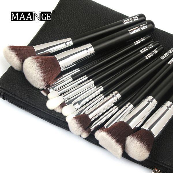 Black Makeup Brushes Set 15pcs Professional Highlight Foundation Brush Powder Eyeshadow Beauty Cosmetics Tools Make Up Brushes Kit with bag