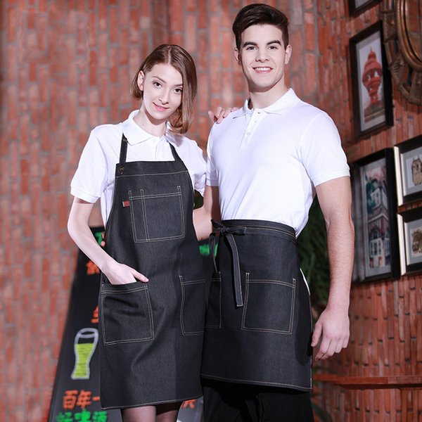 Denim apron kitchen cooking men and women restaurant coffee shop uniforms overall customized print logo