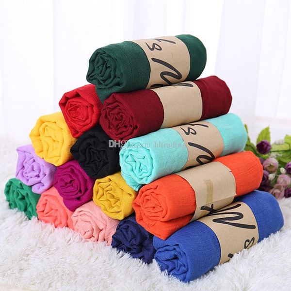 top popular 19 colors Scarves Solid Cotton linen scarf Fashion Sunscreen Shawl Soft Wrap Long HeadScarf Beach Scarf 180*90cm C4547 2021