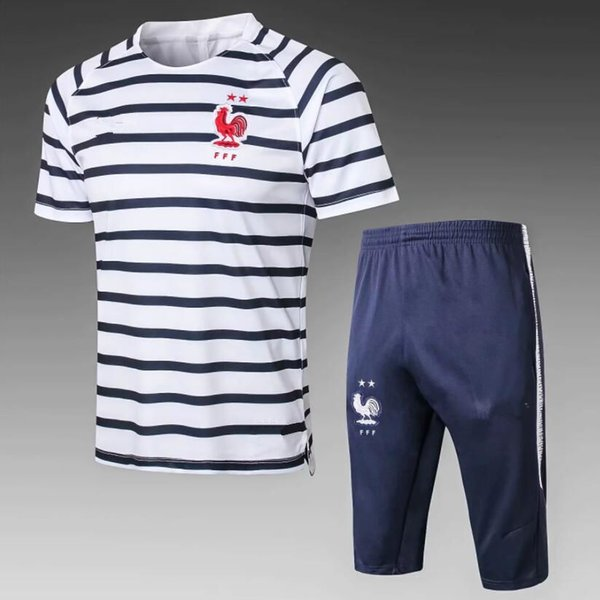 2star fransız kısa eşofman futbol forması 18 19 Eğitim takım elbise futbol giyim kısa slevees 3/4 pantolon GRIEZMANN POGBA MBAPPE futbol gömlek uni