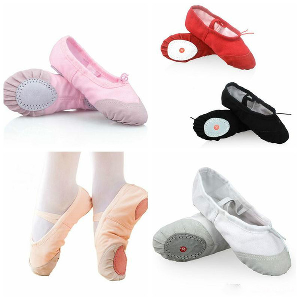 Women Kids Ballet Dance Shoes Canvas Black Pink Red White Children Ballet Dancing Shoes For Girls Boys Casual Shoes free fast shipping