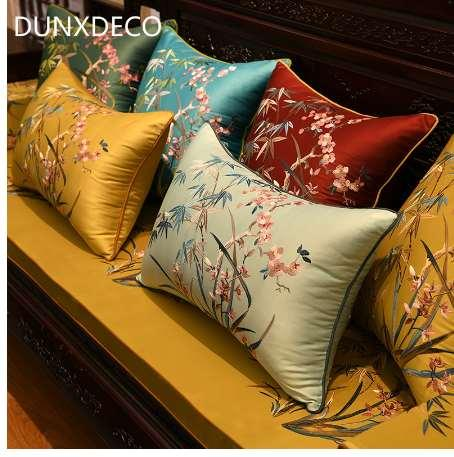 DUNXDECO Cushion Cover Decorative Pillow Case Modern Chinese Traditional Bamboo Flower Orchid Luxury Embroidery Coussin Sofa Dec