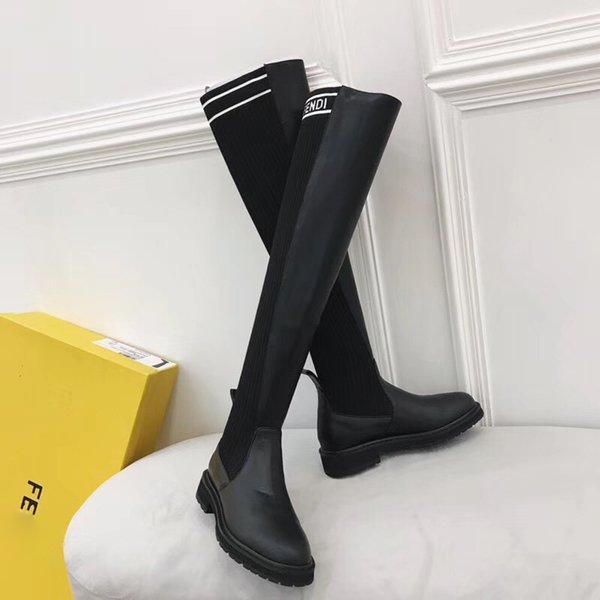 2701a1dd108 Luxury brand socks women boots F letter Slim over the knee high boots  knitted sexy elastic fashion thigh Flat heel ladies winter boots