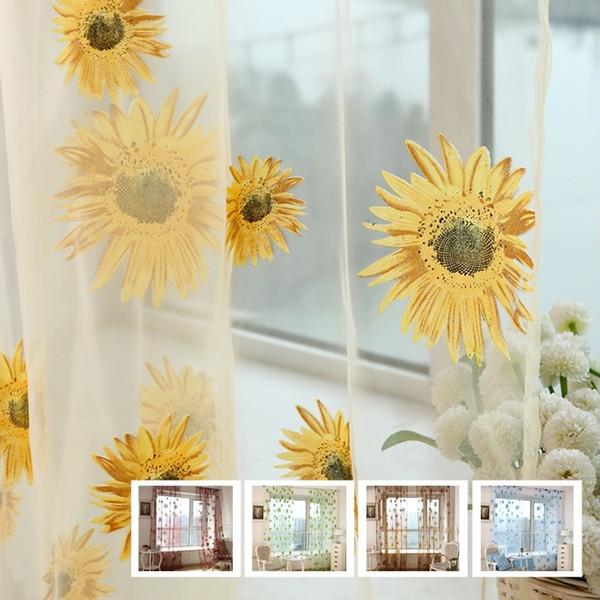 Moda Ayçiçeği Ayçiçeği Perde Vual perde Baskılı Sırf Paneli Pencere Perde Mutfak Oturma Odası Için Vual Tarama Paneli T6I045