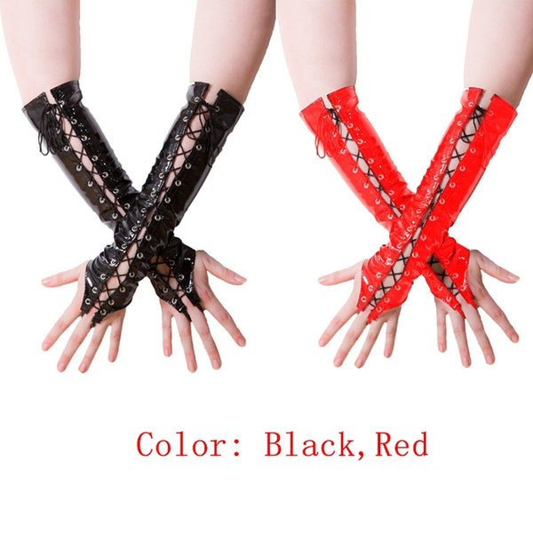 Solid Black Red PVC Wet Look Leather Fingerless Elbow Gloves Catsuit Gloves Fetish Punk Gothic Nightclub Party Long Handwear