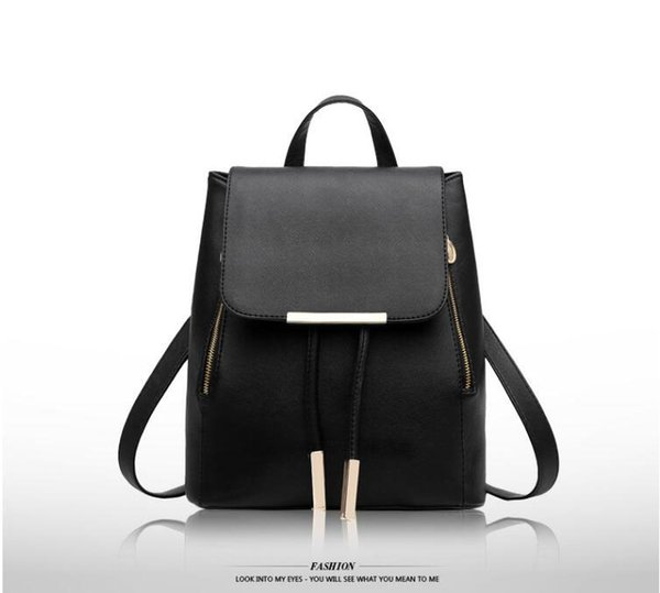 2018 Fashion PU Leather Backpacks Black Red Design Casual Day Pack Sport Outdoor Girls Women Backpacks School Bags Rucksacks