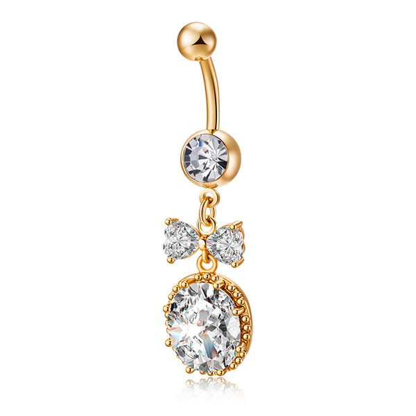 Fashion Big Zircon Bow Ring Belly Button Women Silver Surgical Steel Navel Piercing Brand Body Jewelry SL