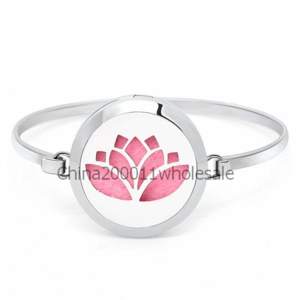 Lotus Flower 30mm Magnetic Stainless Steel Bangle Bracelet Aromatherapy Perfume Diffuser Locket Bracelets Jewelry Making Women 10pcs Pads