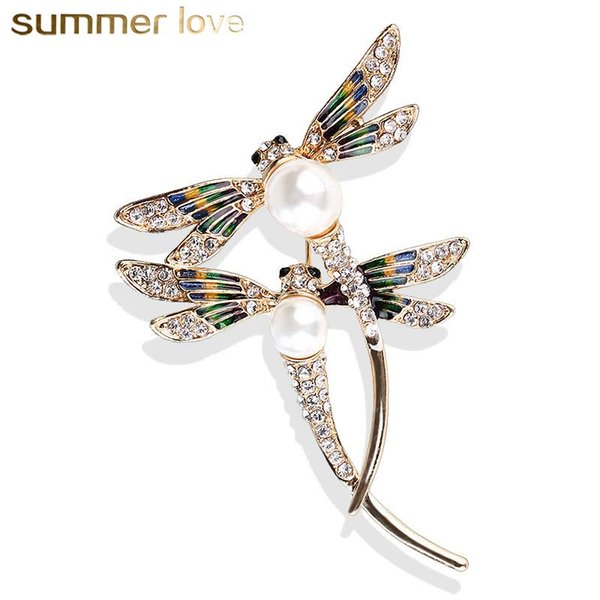Haute Qualité Libellule Flying Insect Pearl Broches Broches pour Femmes Costume Manteau Col Grand Strass Brooche Bijoux De Mode Charme