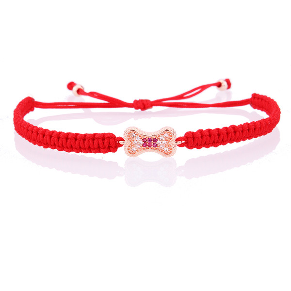 CZ wish bone charm bracelet colorful zircon micro red black string macrame adjustable color keeping friendship bracelets femme