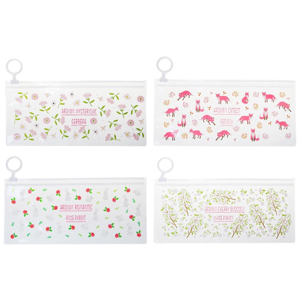 Flowers Animals PVC Pencil Cases Cosmetic Makeup Zipper Pouch Bag Clear Toiletry