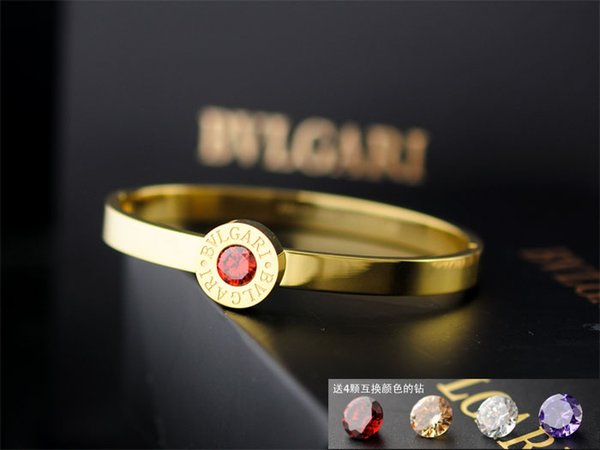 High Quality Celebrity design Letter Metal Buckle diamond bracelet Fashion Metal Clover Cuff bracelet Woman Jewelry With Box