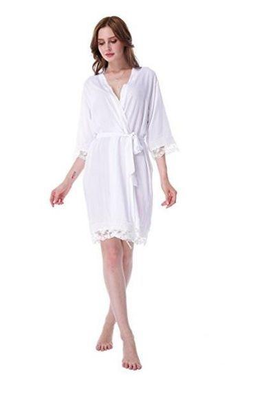 2017 Hot Sale Five Piece Suit Kimono Lace Robe Pajamas Coon Style Bride Bridesmaid Robe Fashion Soft Bathrobe Wedding Dressing