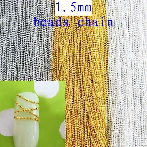 Free Shipping 100m 1.5mm Metal Beads Chain Silver/Gold/Nickle Plated Copper Ball Chain Fashion Gem DIY Craft Garment Accessories