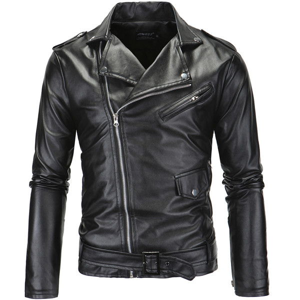 Men's locomotive cultivate one's morality fur collar cutting inclined zipper faux leather coat motorcycle jackets for men winter jacket