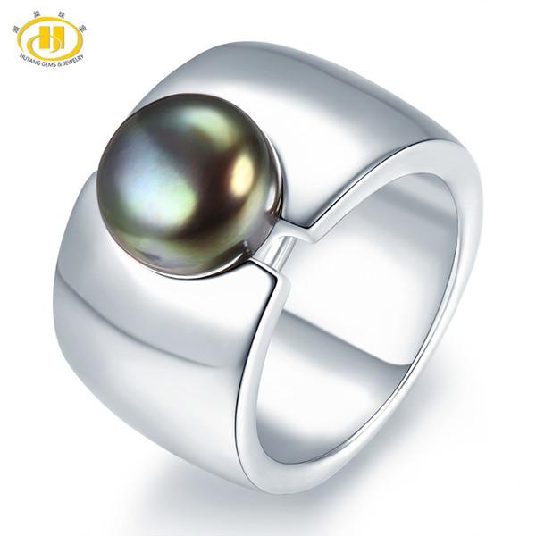 Bijoux de perles Hutang Bague de perle de culture d'eau douce naturelle noire solide en argent sterling 925