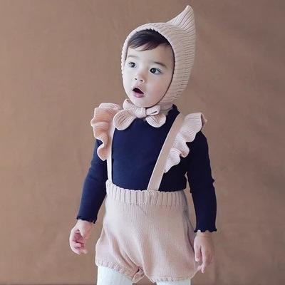 New Baby Girl Tute di cotone lavorato a maglia rosa scuro blu flare manica bretelle tuta pagliaccetto abbigliamento bambino 0-2T