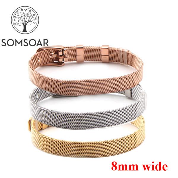 Bijoux Somsoar 8mm de large Bracelet en acier Stianless Mesh argent / or / Bracelet en or rose fit 8mm BRICOLAGE Glissière Charms 10pcs / lot