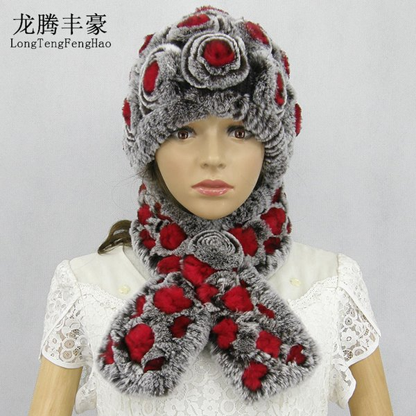 Winter Rex Rabbit Fur Scarf Hat Sets For Women Rose Flower Thick Warm Real Fur Female Beanies Ladies Cap Scarves Set