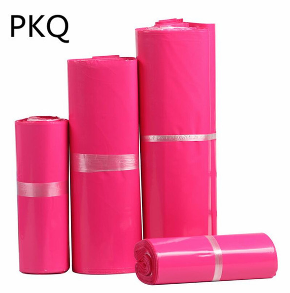 100pcs Hot pink Courier Bag Multi-function Packaging material Shipping Bags Self-seal Mailbag Plastic Poly Mailing Envelope Bag