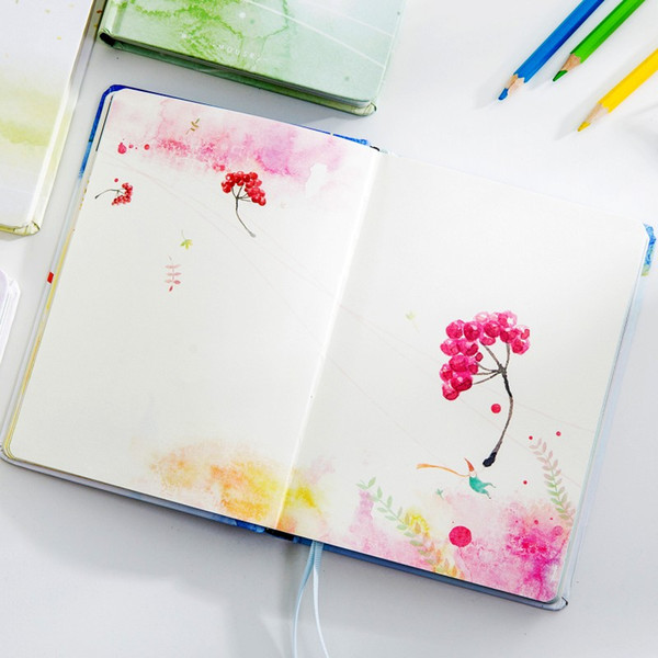 Creative Notebook Handbook Diary Planner Cute Color Page Blank Paper Sketchbook Drawing Agenda A5 Notepad Japanese Stationery