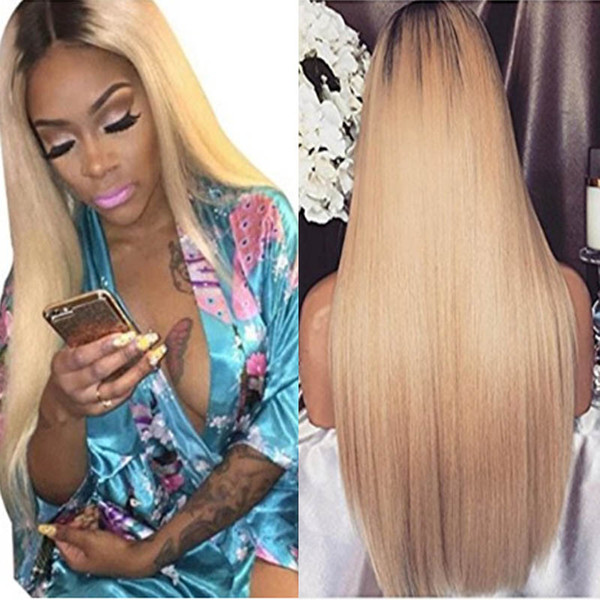 Glue less Full Lace Human Hair Wigs Ombre 1B 613 Straight Natural Hairline Wigs 150 Density Brazilian Virgin Hair Lace Frontal Wig