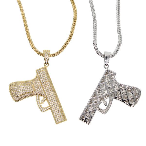 2018 новый хип-хоп ювелирные изделия микро проложить cz пистолет подробные пистолет кулон золотой серебряный цвет прохладный мальчик мужчины подарок хип-хоп рок ожерелье