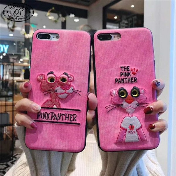 Pink Color Embroidery Pink Panther Moving Eyes Design Korea Style TPU Phone Case for iphone Case