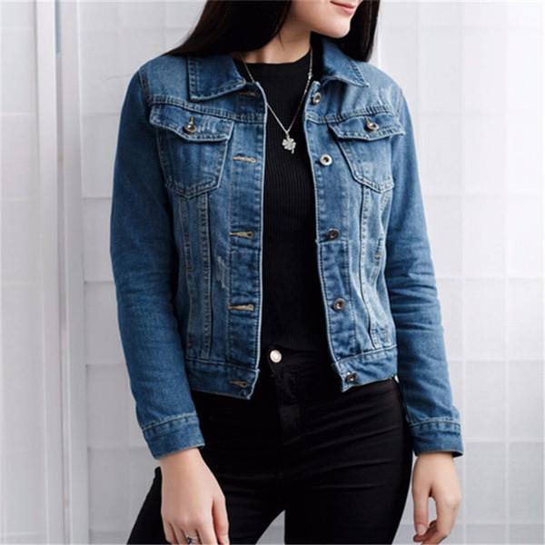Großhandel 2019 Neue Frauen Basic Coats Herbst Und Winter Frauen Jeansjacke 2018 Vintage Langarm Slim Weibliche Jeans Mantel Casual Mädchen Outwear