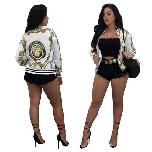 18European und American Fashion Brand Design, neue Herbst Kleid, Digital Positioning Printing langärmelige Jacke, dünner Mantel, Damenbekleidung