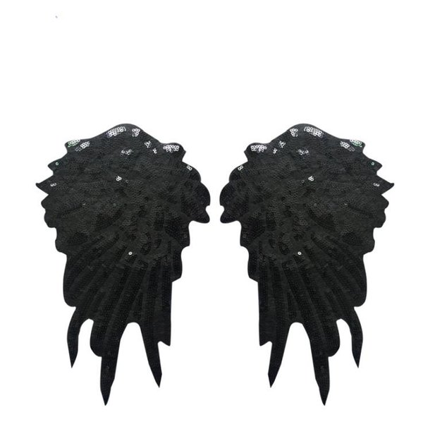1 Pair Black Wings Patches Sequins Sew on Applique for Clothing Sparkling Cos Decoration for Coat Shirt Dress DIY Strips Accessories