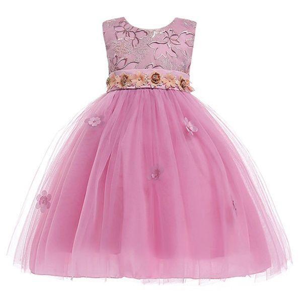 2018 Spring Flower Girl Dresses Vintage Jewel Sash Lace Net Baby Girl Birthday Party Christmas Communion Dresses Children Girl Party Dresses