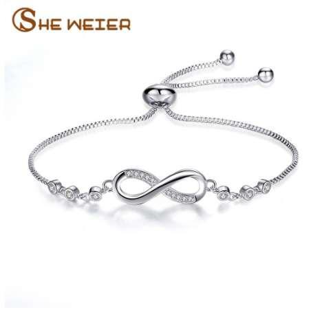 SHE WEIER cadena enlace infinito pulseras brazaletes femme joyería de las mujeres pulsera encantos amistad niñas accesorios de la joyería