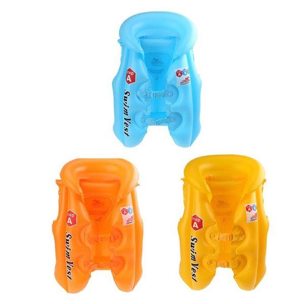 53 * 32 * 22 cm Aufblasbare PVC Schwimmweste Kinder Kid Wassersport Treiben Schwimmen Jacke für Kinder Blau Orange Gelb