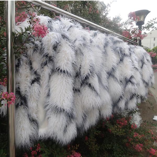 Venta al por mayor- S-3XL Otoño invierno moda hombre de piel sintética zanja abrigo de piel de lana para hombre de diseño largo chaquetas peludas abrigos shaggy chaqueta blanca a cuadros