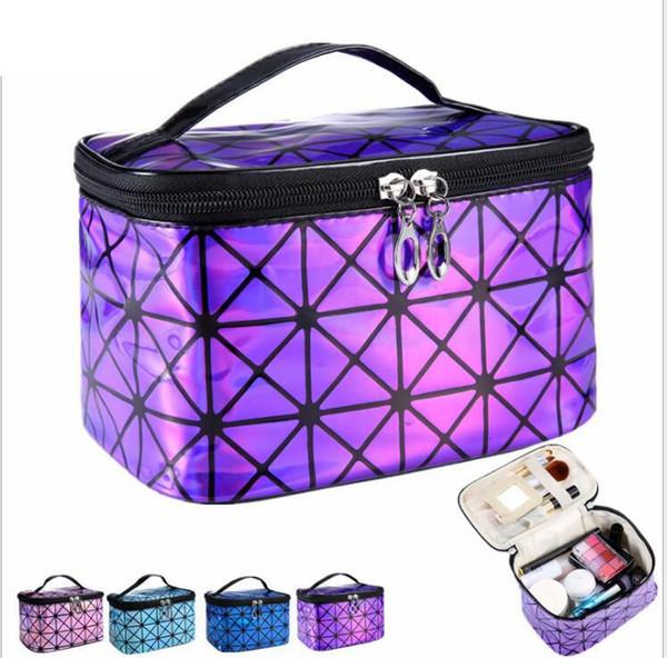 Cosmetic Bag For Women 3D Laser Diamond Pattern Portable Make Up Bag Case Travel Jewelry Organizer Make Up Bag LJJK944