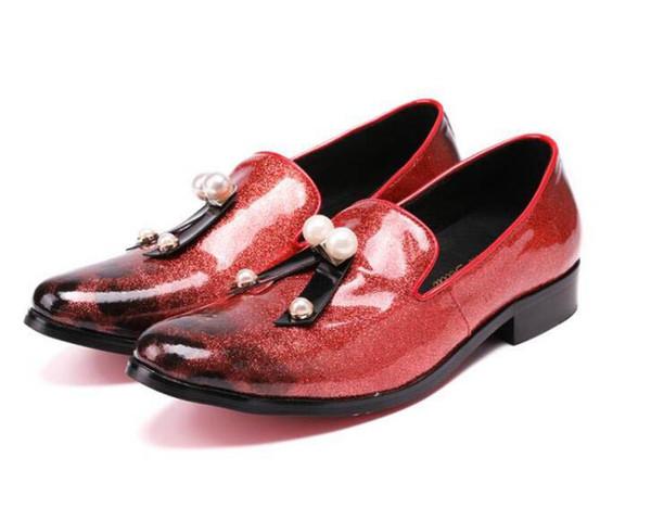 Nouveau luxe haute qualité pointu rouge perle bowtie chaussures en cuir mariage appartements robe homecoming prom formelle chaussures plus la taille 45-46