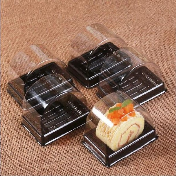 Disposable Cake Box With Clear Cover Swiss Roll Packing Boxes Hygienic Plastic Dust Proof Package Organizer Hot Sale 27sb ff