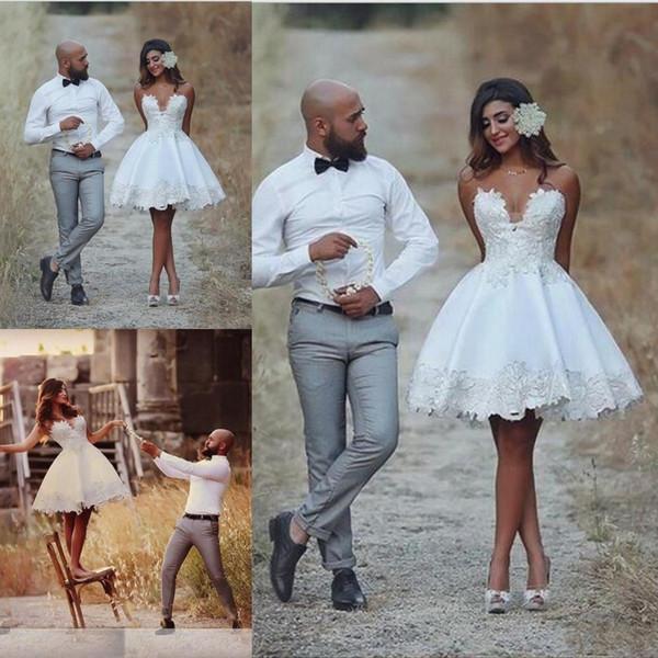 Discount Latest Short Wedding Dresses Knee Length Applique Informal Wedding Bridal Gowns Lace Vestido De Novia Vintage Brazil Bride Reception Dresses