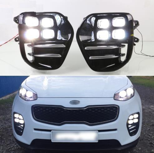 For Kia Sportage KX5 2016 2017 2018 Plug and Play Car 12V DRL Waterproof LED Daytime Running Light LED Fog Lamp Daylight