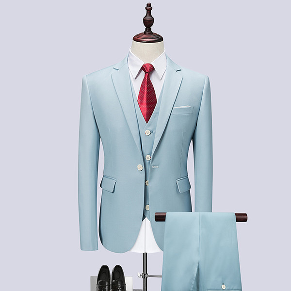 3pc British Style Men Suit Brand New Slim Fit Light Blue Dress Suits Men One Button Casual Wedding Suits For Clothing 6XL-M
